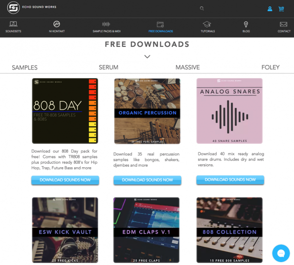 Echo Sound works; FREE download samples